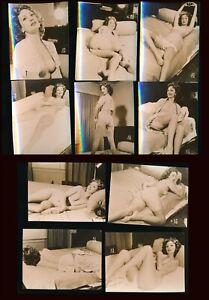 1960s Original Nude Eleven Photo Striptease Set Buxom Glamorous Redhead vv