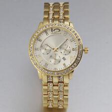New Luxury Elegant Crystal Women Date Stainless Steel Golden Quartz Wrist Watch
