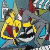 "Patricia Kleyman Superbe Tableau 50cmx50 ""Vacances en Bretagne"" Direct Artiste"