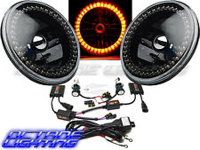 "7"" HID Amber LED Halo Ring Angel Eyes Black Headlight 6K Light Lamp Bulbs Pair"