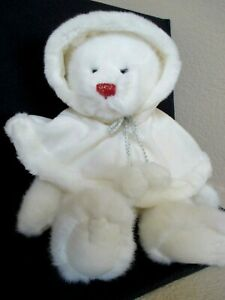 Russ Berrie & Co. Sugar Plum White Bear with Cape and Red Nose