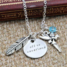 Peter Pan Inspired Off to neverland necklace blue crystals feather elf charm