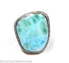 Handcrafted Huge AAA Genuine Dominican Larimar 925 Sterling Silver Ring size 6.5