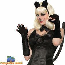 Cat Gloves Black Velveteen Fingerless Sexy Halloween Ladies Fancy Dress Costume