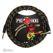 "Pig Hog PCH10RAR 1/4"" Straight to 1/4"" Right-Angle Rasta Instrument Cable"