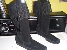 Minnetonka  Fringe Moccasin Boots Sz 6 Suede Leather Black