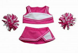 """Teddy Bear PINK & WHITE Cheerleader Outfit CLOTHES Fit 14""""-18"""" Build-a-bear NEW"""