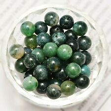 20 Green Moss Agate Gemstone Beads 8mm Natural Jewelry Making Supplies