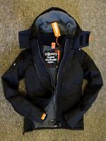 New Superdry Womens Windcheater Hooded Quilted lined Jacket coat  Black Grey