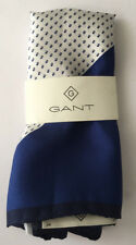 GANT Pocket Square Yale Blue Cocktail 100% Silk Italy
