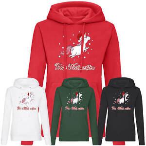 Frohe Weihnachten Einhorn Damen Hoodie Geschenk Nikolaus Christmas Frauen Motiv