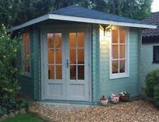 CORNER CABIN 10ft x 10ft 28mm/ COMPLETED WITH FLOOR AND SHINGLE TILES