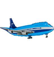 Jumbo Jet Flugzeug blau Luftballons xl Folienballon Geburtstag Helium Party