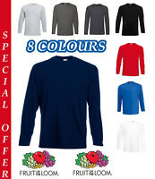 Fruit of the Loom Long Sleeve T Shirt Plain Tee Shirt Value Top Cotton T Shirts