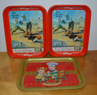 KELLOGGS & CAMPBELLS METAL SERVING TRAY LOT ADVERTISING BASEBALL RETRO