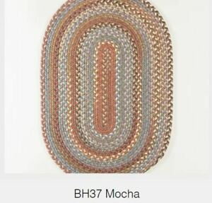 Bar Harbor Wool Country Cottage Home Classic Braided Rug Mocha Multi BH37