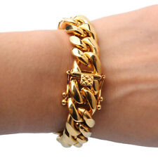 Fine Jewelry 18 Kt Real Solid Yellow Gold Miami Cuban Link Chain Men'S Bracelet