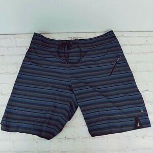 LULULEMON  Mens Shorts Sz 36 Travel Golf Workout Button Zip Pockets Blue