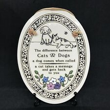 Vintage Trinity Pottery USA Cat and Dogs The Difference Oval Wall Plaque