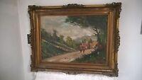 Paesaggio Olio su tela Deviti cornice oil on canvas frame landscape old quadro