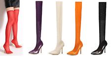 Mac J Mesh Stocking Boots Rhinestone Spatter Metallic High Heel Shoes 7-11