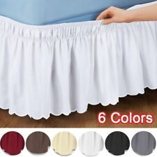 S/M/L/XLWrap AroundSolid Color Bed Skirt Elastic Bedroom Quality Fabric Easy Fit