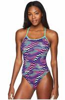 New $164 Tyr Swimwear Women's Purple Blue Printed Swimsuit One Piece Size L/36