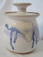 Gene Brenner Pottery Covered Sugar Bowl Blue White Drip Florida Studio Signed