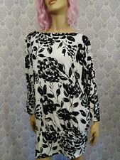 Marc Bouwer Tunic Top Womens 2X Stretch Dolman Sleeve Black White Floral Print