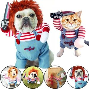 Funny Dog Cat Pet Costume Clothes Chucky Knife Doll Deadly Halloween Fancy Party