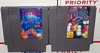 Nintendo NES Tetris 1 and 2 Video Game Cartridge Lot Set Authentic Work Great