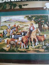 Round-up Needlepoint Kit,1993 Bucilla Linda Gillum Sealed 4676 Cowboy Cattle NC