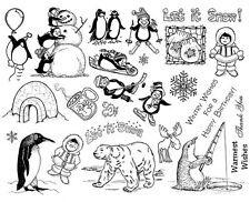 Unmounted Rubber Stamps Sheet, Penguin, Penguins, Winter, Ski, Snow, Polar Bear