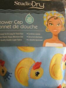 NEW STUDIO DRY Shower Cap OVERSIZED YELLOW RUBBER DUCKY 100% Water Proof