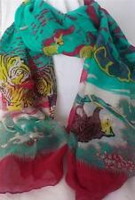 New Cotton Scarf Green Red Yellow African Animal Fun Multi-Coloured 180x70