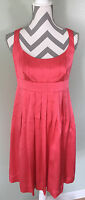 MAGGY LONDON Pink 100% Silk Sleeveless Pleated Cocktail Formal Dress Sz 6 Small