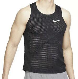 NWT Nike Running Singlet Tank Top AeroSwift Men's Large. Black AQ5247-010 NEW