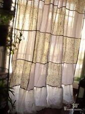 "88"" Gypsy Bohemian Patchwork Girl Curtain Panel shabby Chic Purple Gray RUFFLE"