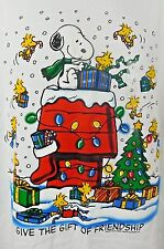 Peanuts Snoopy Woodstock Christmas Gift Friendship T-shirt Large L White NWT