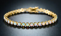 Sevil- 18k Gold Plated Created Opal Crown Tennis Bracelet