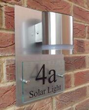MODERN HOUSE SIGN PLAQUE DOOR NUMBER STREET GLASS ALUMINIUM EFFECT SOLAR PREMIUM