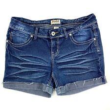 Mudd Jean Shorts Size 13 Dark Blue Denim Cuffed Stretch Juniors