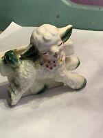 Lamb Vintage Porcelain Planter Vase Holder Lamb Sheep Baby Nursery Excellent