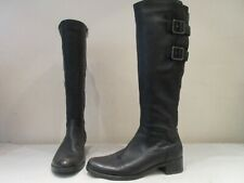 CLARKS BLACK LEATHER LIKEABLE ZIP UP LONG BOOTS UK 5 D (3370)