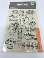 Hero Arts Woodland Creatures Clear Stamps MX261 Animals Mushrooms
