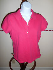 EUC IZOD Solid Pink Short Sleeve Polo, Stretch Cotton Casual Knit Top Size M
