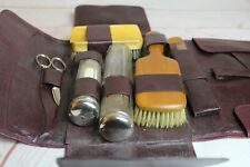 vintage mens shaving kit with dark purple leather cary travel case