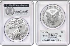 2017-W $1 Silver Eagle PCGS SP70 First Strike Thomas Cleveland Wreath POP 150