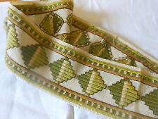 Antique  French Geometric Wool Needlework Trim ~ Gold Green ~ Early Curtains ~#2