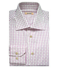 Pal Zileri Sartoriale Men's Pink White Checked Cotton Shirt, size 37,38,41,42,44